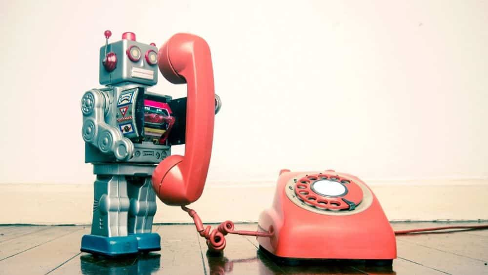 chat bot talking on a telephone
