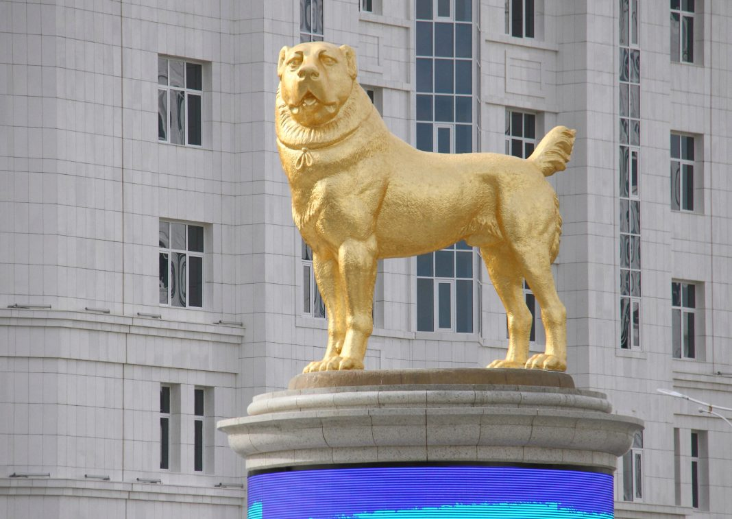 madcap turkmenistan dictator unveils massive 20ft gold statue of his dog in middle of capital city in bizarre ceremony