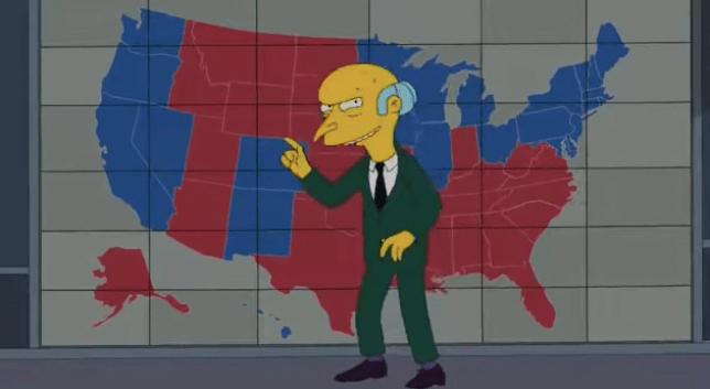 the simpsons fans spot eerily accurate election prediction showing us split almost exactly like trump biden are now