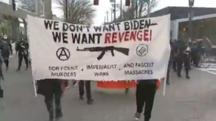 leftwing protesters riot in portland and seattle on bidens inauguration day