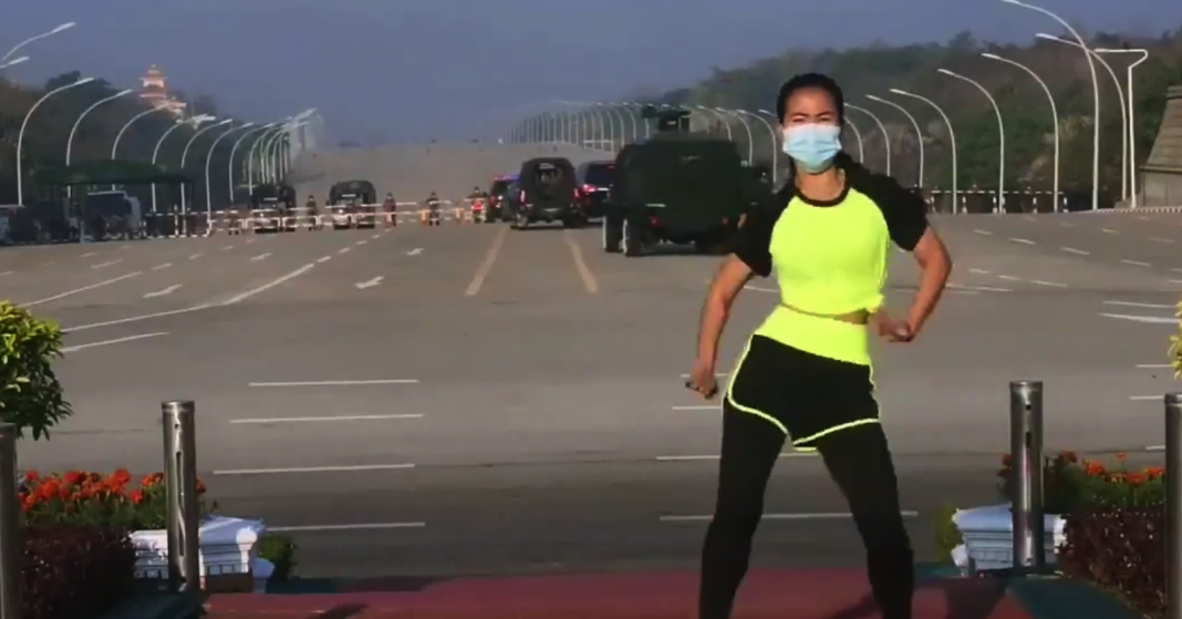 yes this pe teacher really danced through the coup in myanmar